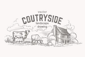 Rustic landscape sketch. Vector.