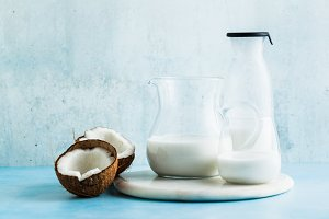 natural, homemade coconut milk in a