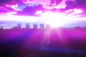 Dramatic burning sunset city illustr