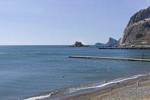 The Black Sea coast. Empty beach.
