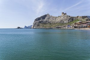 View from the sea to Genoese fortres