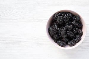 Flat lay of  fresh organic blackberr
