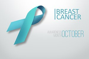 Blue ribbon on a gray background