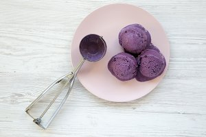 Top view, blueberry ice cream balls