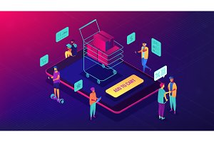 Isometric mobile shopping and