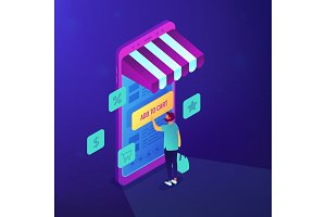 Isometric mobile shopping