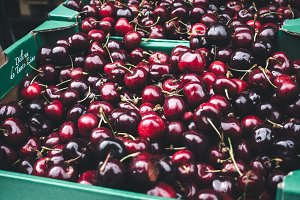 Dark fresh cherries at farmers marke