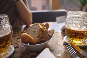Czech draught beer with bread