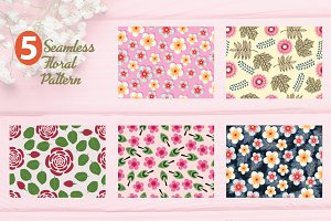 5 Exotic Floral Seamless Pattern