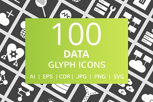 100 Data Glyph Inverted Icons