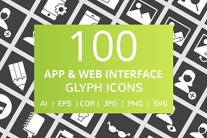 100 App & Web Interface Glyph Icons