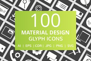100 Material Design Glyph Icons