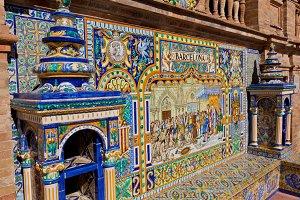 Walls of Plaza de Espana in Seville,