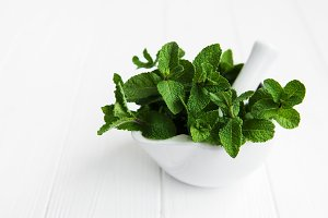 Mortar with fresh mint