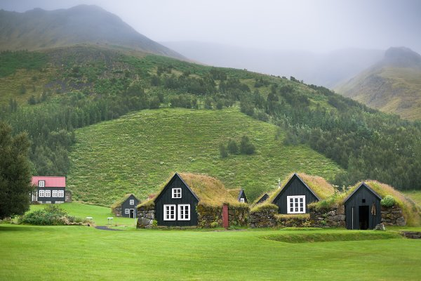 Architecture Stock Photos: Dvoevnore photos - Overgrown Typical Rural Icelandic Ho