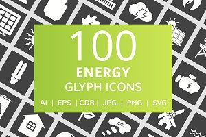 100 Energy Glyph Inverted Icons