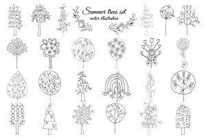 Monochrome Floral Elements Set
