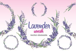 Lavender Wreath Vector Elements