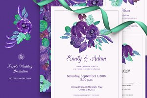 Purple Wedding Invitation Set