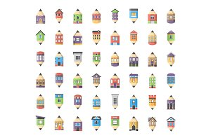 48 House Drawings Flat Icons