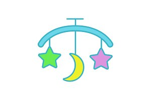 Baby bed carousel color icon