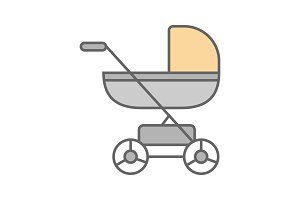 Baby carriage color icon
