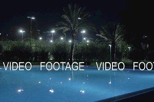 Night view of swimming pool on