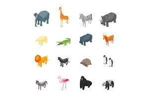 Wild Animals Set Isometric View.