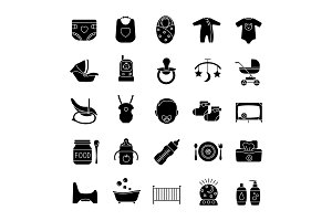 Childcare glyph icons set