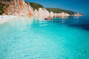 Tourist pleasure boat land to