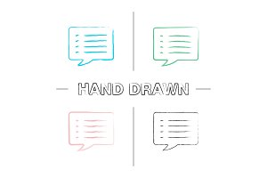 Speech bubble hand drawn icons set