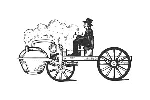 Steam engine car engraving vector