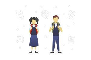 Schoolchildren flat character design