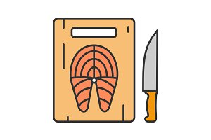 Cutting board with fish steak icon