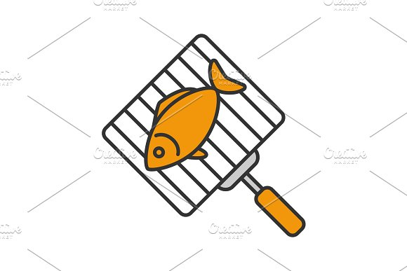 Hand grill with salmon fish icon