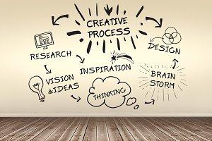 Composite image of creative process