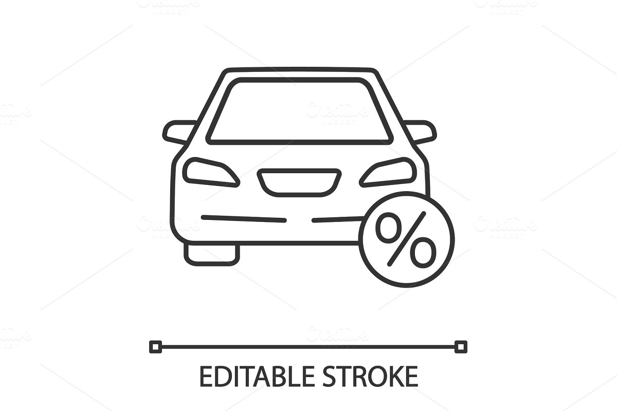 Auto loan linear icon in Icons