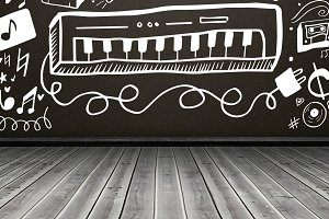 Image of piano with musical symbols