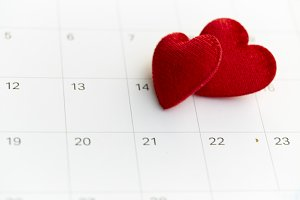 14th february date and red heart