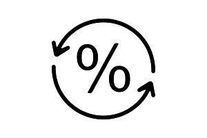 Percent conversion glyph icon