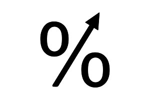 Percentage growth glyph icon