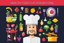 Food & Cooking Flat Design Icons Set