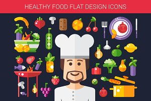Food & Cooking Flat Design Icons Set