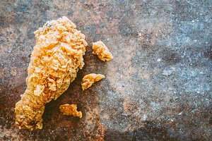 Fried chicken on stone retro