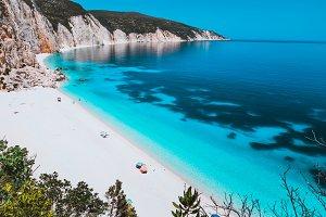 Sunny idyllic Fteri beach lagoon