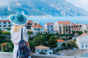 Young stylish traveler woman