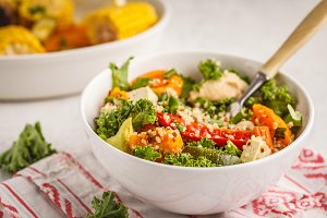 Baked vegetables quinoa salad