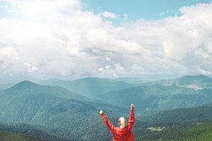 woman hiker enjoying the view of
