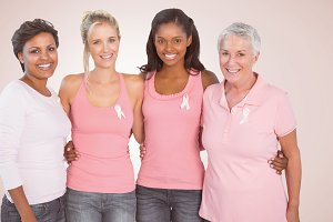 Happy women supporting breast cancer