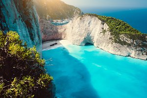 Navagio beach. Shipwreck on beach in